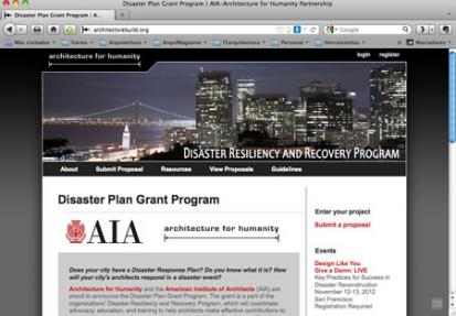AIA and Architecture for Humanity pone en marcha Disaster Plan Grant Program